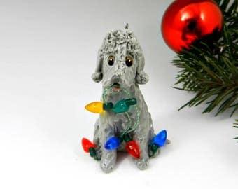Bedlington Terrier Blue Christmas Ornament Figurine Lights Porcelain