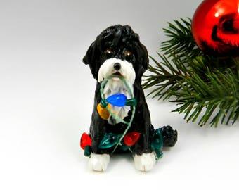 Portuguese Water Dog Christmas Ornament Figurine Lights Porcelain