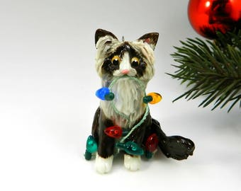 Ragdoll Cat Sealpoint Christmas Ornament Figurine Lights Porcelain
