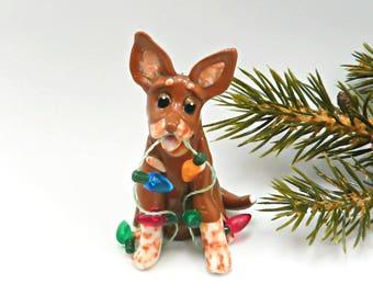 Australian Cattle Dog Red Heeler Christmas Ornament Lights Figurine Porcelain