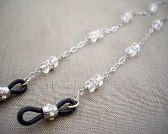 Eye glasses chain, Glasses chain with gems, Silver glasses chain, Crystal glasses chain, Gift for Mom, wife, Gift for Grandma, Clear quartz