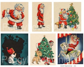 Santa 3 Digital Collage from Vintage Christmas Greeting Cards - Instant Download - Cut Outs