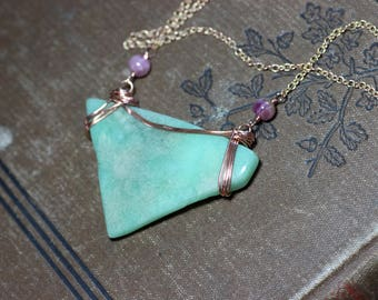 Chrysoprase Pink Tourmaline Necklace Copper Necklace Pink and Green Wire Wrapped Bar Necklace Rustic Jewelry