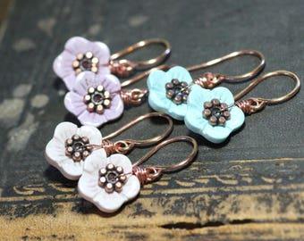 Stone Flower Earrings Blue or Pink Pastel Earrings Copper Luxe Rustic Jewelry