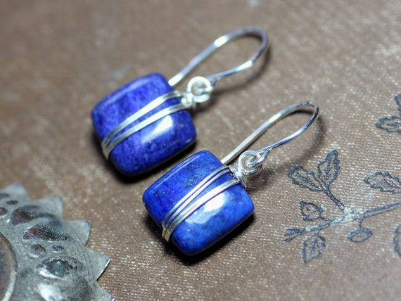 Lapis Ohrringe Silber Draht umwickelt blauen Edelstein