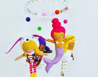 A Whimsical And Midern Baby Mobile Featuring a Mermaid, Angel, Surfer Girl, and Bunny --- Perfect and Unique Gift For New Parents!