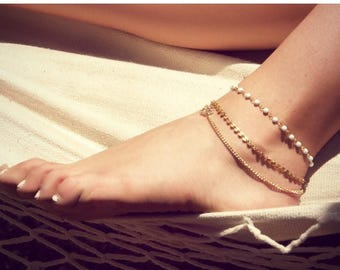 SUMMER SALE BETSY Anklet- triple chain anklet / foot chain / bohemian jewelry / body jewelry / anklets / vintage / boho chic