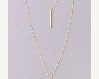 SUMMER SALE Double Bar layered chain necklace