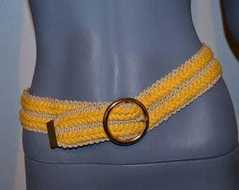Vintage Yellow Belt. Braided jute two tone belt by Ruza. Deadstock.  One size adjustable. Cinch Belt.