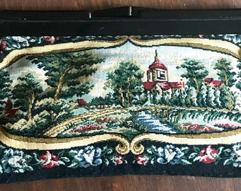 Vintage tapestry clutch 60's purse 1960's handbag countryside castle trees babbling brook romantic floral