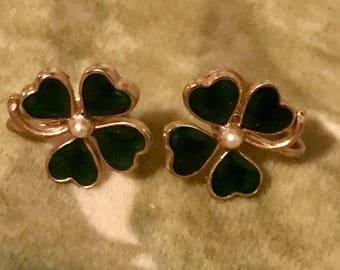 Vintage four leaf clover earrings 50's lucky shamrock 1950's green enamel clovers St. Patricks Day