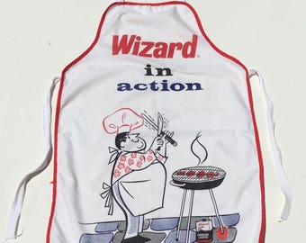Vintage BBQ Apron Full Bib Wizard in Action Charcoal Lighter