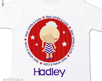 SALE - ships in time 4th 4th of July shirt girl red white and cute personalized Tshirt