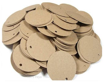 100 Kraft Circle Hang Tags, Price Tags, Jewelry Tags, Product Tags, Labels, 1.25""