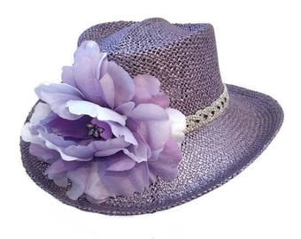 "Women's Golf hat, Straw Sun Hat, Summer Hat, Race Day Hat Gambler style Golf Hat in Metallic Lavender with AB Crystal -  ""Lavender Tee Time"""
