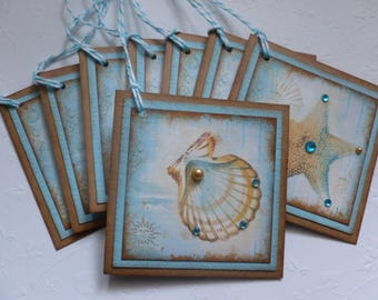Beach themed tags, nautical, wedding favor, vintage style, seashells, teal and brown - set of 8
