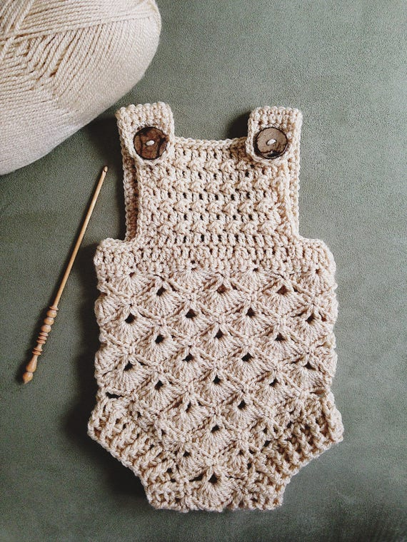 Crochet PATTERN Baby Romper sizes 0-3 and 6-12 months