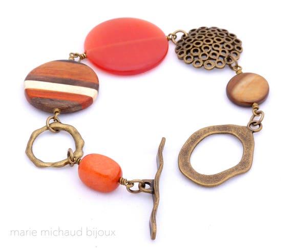 Big boho bracelet, Boho bracelet, Orange bracelet, Original bracelet, Boho jewelry, Fall bracelet, Original bracelet, Gift Idea for her