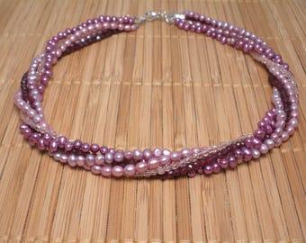 Garnet Gemstone Necklace Pink Pearl Multistrand Necklace Garnet Torsade Plum Multistrand Pomegranate Necklace Pink Pearl Twisted Strands