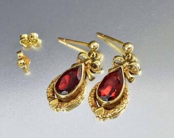 Vintage English Gold Garnet Earrings, Heart & Bow Love Token Charm Dangle Earrings, Dainty Bohemian Bridal Wedding Jewelry