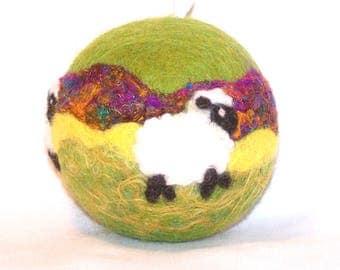 Christmas Ornament - Needle Felted Sheep - Lambs - Green Yellow Purple - Felt Christmas - Holiday Decor - Christmas Gift