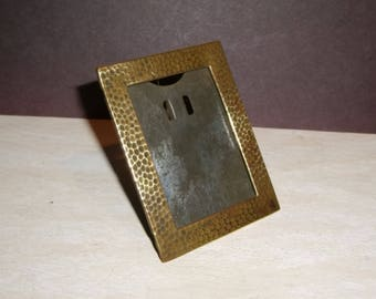 """Antique Miniature Picture Frame Hammered Brass Arts Crafts 1.5"""" by 2.125"""""""