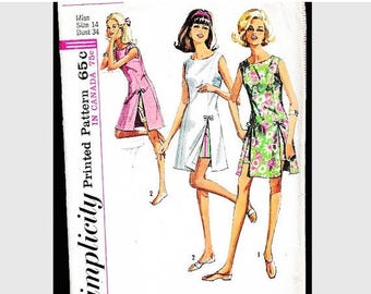 SALE 25% Off 1960s Dress Pattern with Shorts Misses size 14 UNCUT, Side Slit Dress and Shorts, Tennis Dress Pattern, Vintage Sewing Patterns