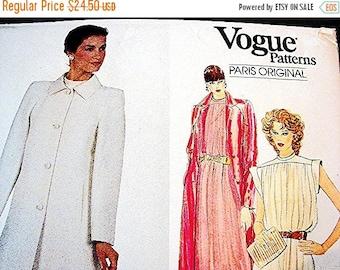 on SALE 25% Off Vogue Paris Original Pattern designer Pierre Balmain Short or Evening Dress with Evening Coat Pattern Misses 18 UNCUT Vogue