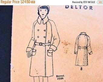 on SALE 25% Off 1920s Girls Coat Pattern Butterick Girls size 8 Double Breast Coat Raglan Sleeve 2 lengths Vintage Sewing Pattern 20s