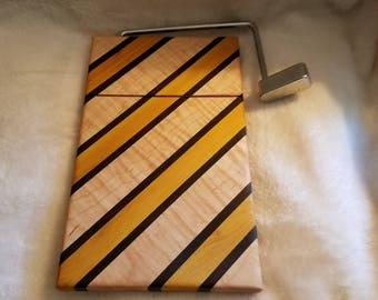 yellowheart, maple, walnut cheese slicer