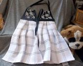 Hanging Kitchen Premium Terry Tie Towels, White Bikes Black Print Top