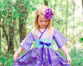 Birthday Dress - Purple Dress - Girls Twirl Dress - Girls Kimono Dress - Preteen Dress - Little Girl Dress - Toddler - 12 mos to 14 years