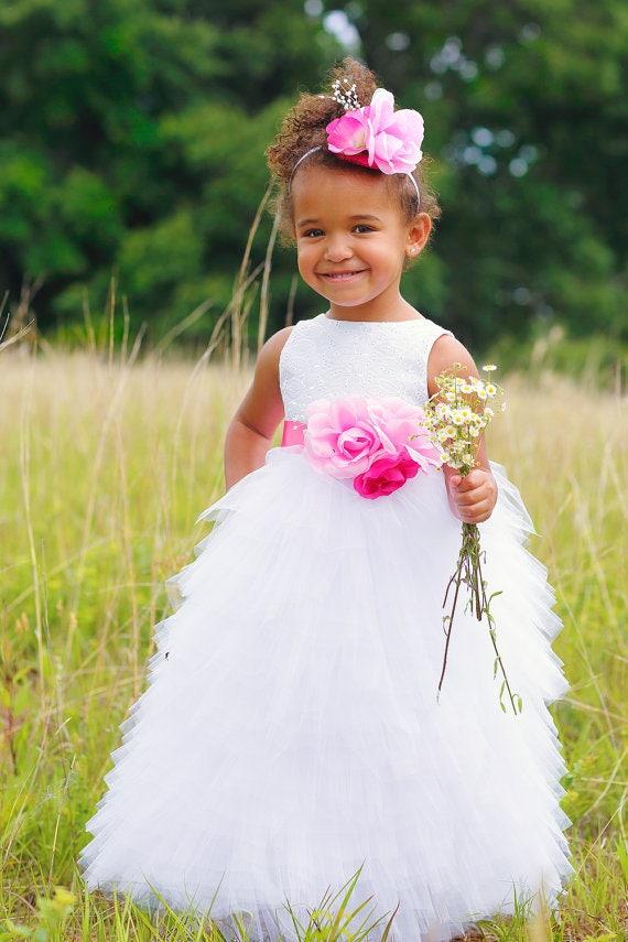 White Flower Girl Dress - Toddler Flower Girl - White Wedding - Pageant Dress - Tulle Dress - Maxi Dress - Full Length - 2T to 8 Years