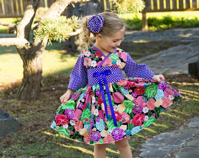 Girls Twirly Dress - Toddler Twirl Dress - Toddler Girl Clothes - Preteen Clothes - Long Sleeves - Floral Dress - teens - 12 mos to 14 yrs
