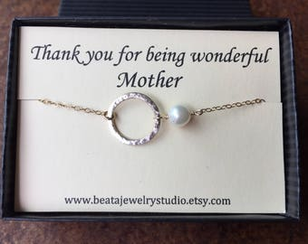 Infinity Mother Wedding Necklace, Grooms Mother Gift, Thank You Card, White Pearl, Necklace Karma, Mother of the Bride, Circle