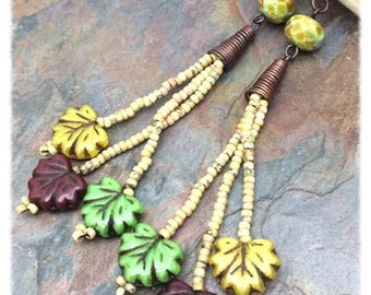 Autumn Leaves Long Seed Bead Earrings by Marta Weaver Jewelry, Ready to Ship, Free USA Shipping