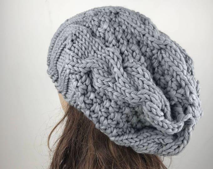 Hand knit woman man unisex hat - Oversized Chunky Wool Hat, slouchy Grey hat, winter hat