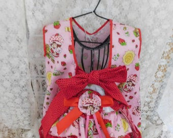 Strawberry Shortcake Girls Dress Back Butt Ruffles Diaper Cover Toddlers Birthday Party Gift Party Pinafore Dress Outfit OOAK 2T