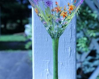 Hand painted Garden -tini glass