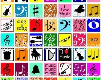 Music Theme Inchies Digital Collage Sheet 1x1 Inch Squares 63 Different Images Scrapbooking