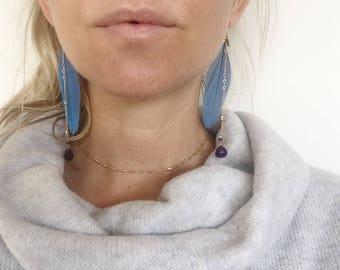 Rainbow Macaw Feather Earrings Amethyst Gemstones 12k gold fill