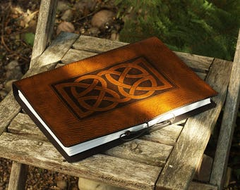 A4, Large, Leather Bound Journal, Celtic Knot, Brown Leather, Leather Notebook, Blank Book, Celtic Journal, Book of Shadows, Personalized.