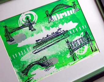 THE FIVE BOROUGHS #08   screen printed travel sketches   New York City bridges   green and blue   by Kathryn DiLego
