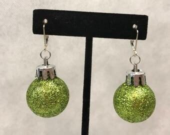 Green Glitter Christmas Ornament Dangle Pierced Earrings