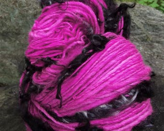 Handspun art yarn, Hand painted Polwarth wool yarn, locks of mohair worsted, thick and thin-Neon