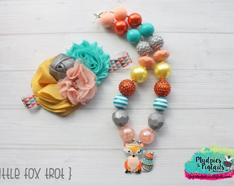Fall Baby Girl Necklace or headband { Fox Trot }  thanksgiving, gray, coral, teal, back to school, tribal, cake smash photography prop