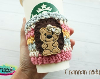 Hedgehog Crochet Coffee Sleeve  { Hannah } gray, rose gold pink, cup cozy, knit mug sweater, starbucks gift, frappuccino holder