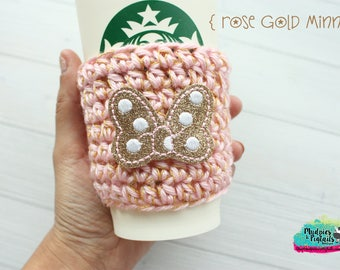 Princess Crochet Coffee Cozy { Rose Gold Minnie } gold pink bows, polkadot, Inspired striped, coffee sleeve, mug starbucks water bottle
