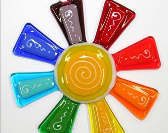 Glassworks Northwest - Brilliant Rainbow Flower Suncatcher - Fused Glass Suncatcher