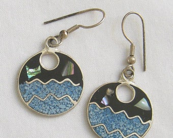 Vintage Mexico Alpaca Silver and Blue Enamel with Abalone Sea and Sky Dangle Earrings